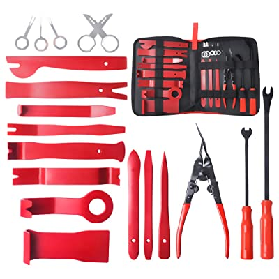 MIKKUPPA 19 pcs Car Panel Removal Tools Kit - Trim Removal Tool Set, for Car Dash Audio Radio Door, Plastic Fastener Remover Installer Pry Tool with Storage Bag: Automotive