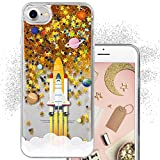 iPhone 7 Case for girls, iPhone 8 Case, GMYLE Space Design Astronaut Cartoon Star Galaxy Shockproof Clear Glitter Bling Sparkle Gold Floating Quicksand Protective Case for iPhone 7 & 8, Spaceship