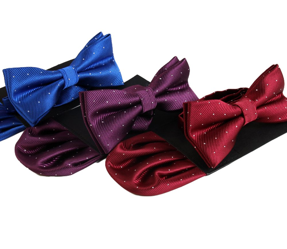 Mens Tuxedo Fashion Pre-tied Bow tie Pocket Square Hankerchief Matching Set (Plaid Navy Blue)