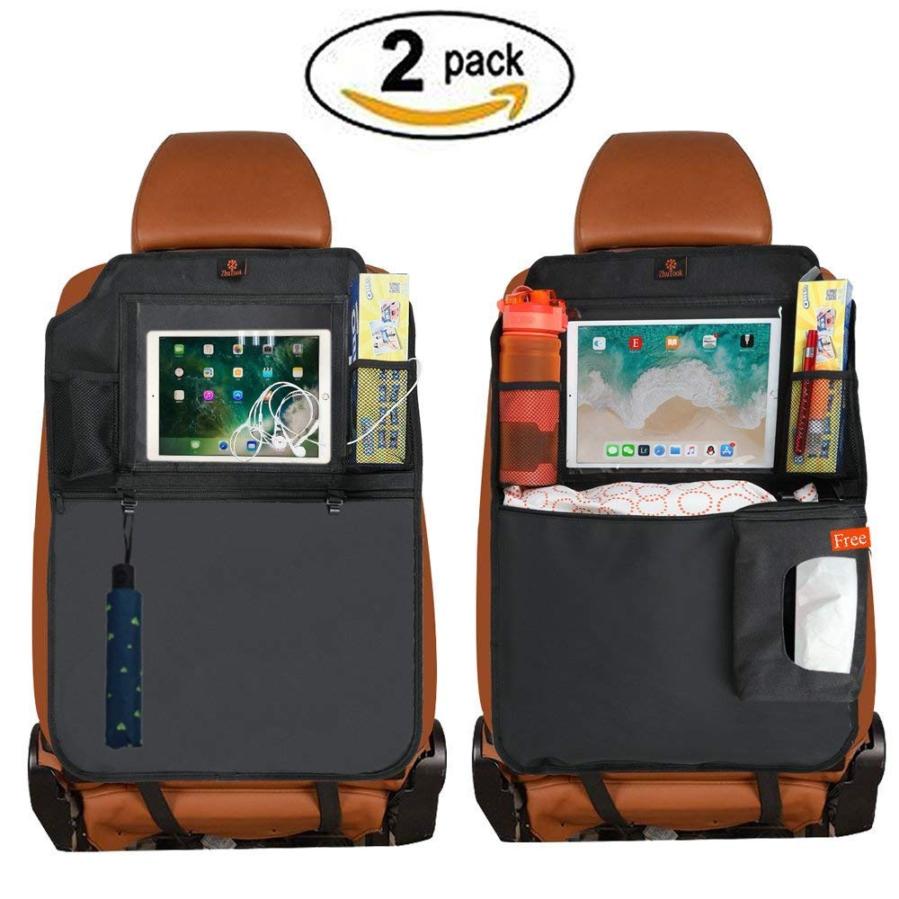 ZhuTook Kick Mats Car Seat Back Protectors Back of Seat Organizers 1 Pack XL with 1 Tissue Box Clear 10 Ipad Holder 3 Large Storage Organizers
