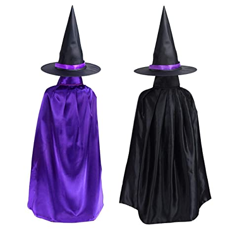 Double face satin di lusso nero Halloween strega Halloween mantello con  cappello 601a6d304d91