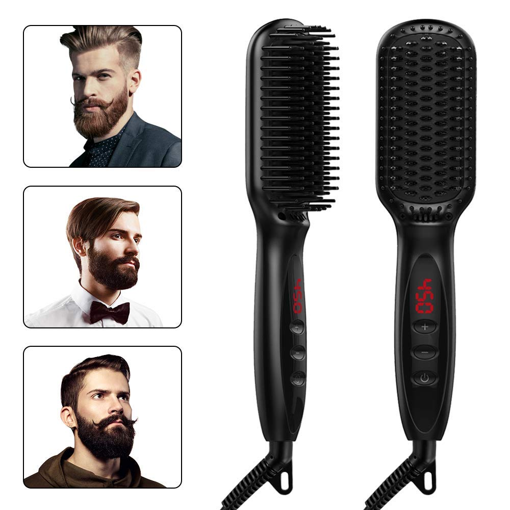 CCVOO Hair Straightener Brush – Ceramic Heating Hot Air Ionic Hair Straightening Comb – Beard Straightener Brush – Safe LED Display Anti-Scald Dual Voltage Comb for Women Men – Home Travel Salon