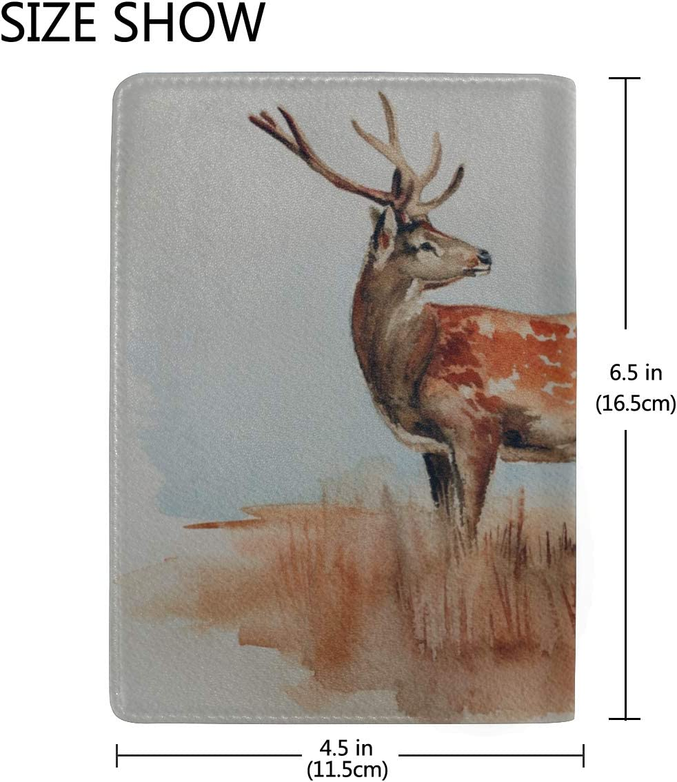 Cute Lovely Deer In The Field Blocking Print Passport Holder Cover Case Travel Luggage Passport Wallet Card Holder Made With Leather For Men Women Kids Family