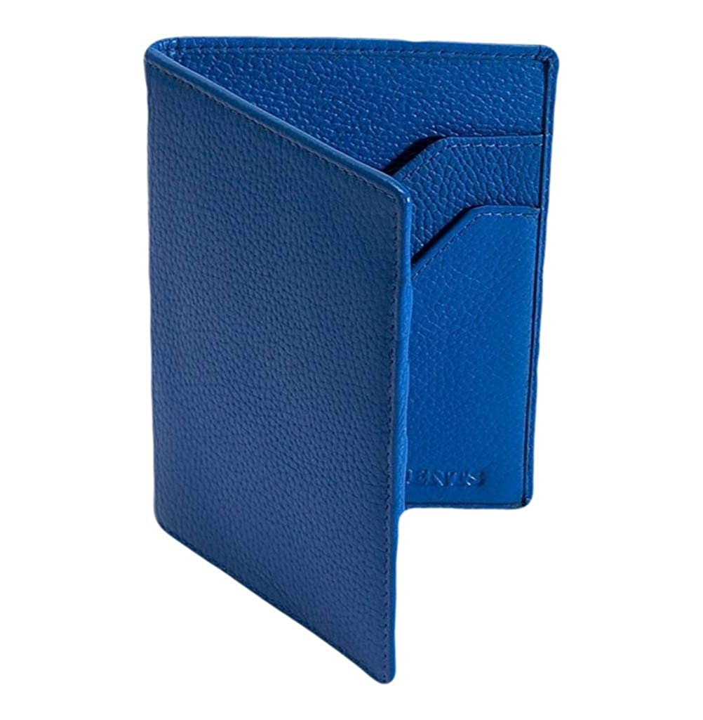 Dents Mens RFID Blocking Protection Pebble Grain Leather Passport Holder Royal Blue