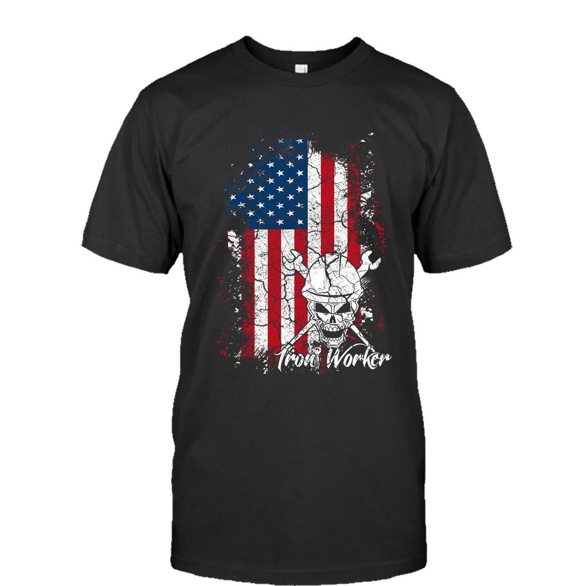 Iron Worker Flag Cool T Shirts Design Iron Worker T-Shirt