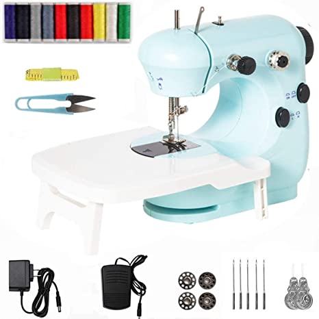 Easy Use Electric Crafting Mending Machine 2-Speed Double Thread with Foot Pedal for Household Beginner Portable Mini Sewing Machine with Extension Table
