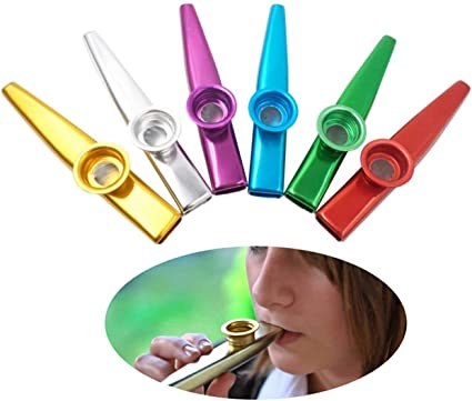 A Good Companion for Guitar, Ukulele, Violin, Piano Keyboard 6 Pack Quality 6 Different Colors of Metal Kazoo