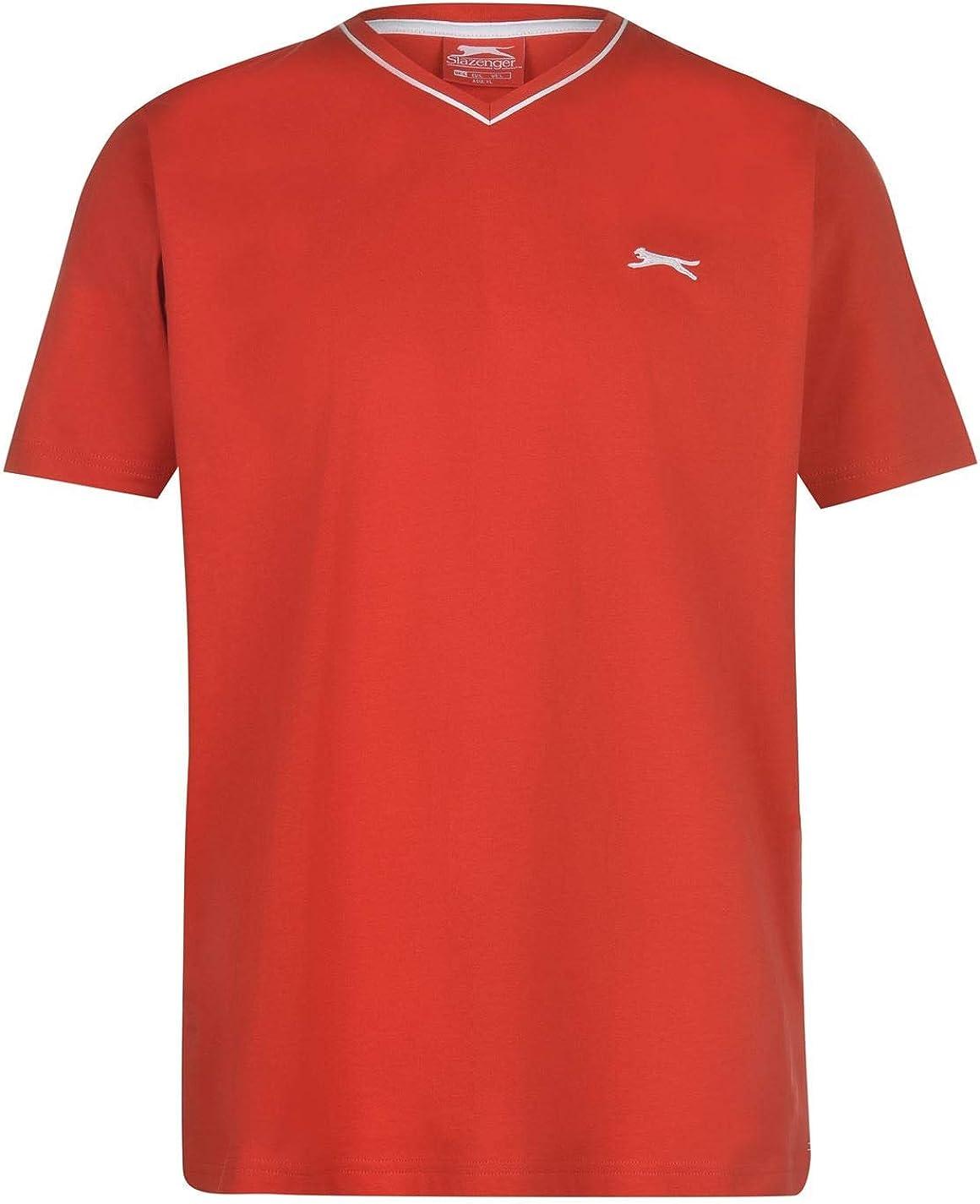 Slazenger Mens V Neck T-Shirt Tee Top Short Sleeve Lightweight Cotton Stripe