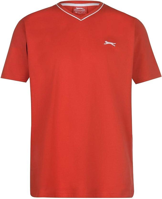 Slazenger Hombre V Neck Camiseta Manga Corta Rojo 3XL: Amazon.es ...