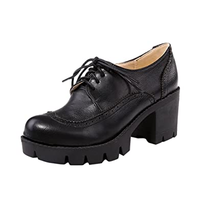 Charm Foot Women s Chunky Heel Lace Up Platform Oxfords Shoes (4.5 7854b82d8