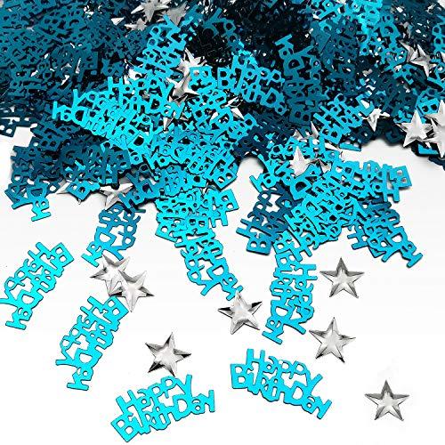 Confetti Birthday Table - iZoeL Table Confetti Bag 30g incl. Blue Happy Birthday Confetti (240pcs) Silver Star Confetti Sequin(350pcs) for Boys Girls Birthday Party Decoration