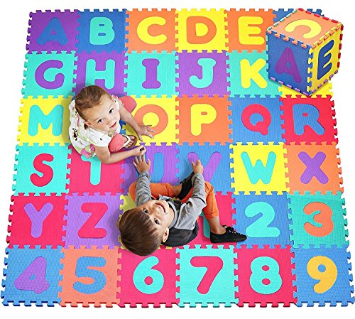 (Alphabet & Numbers Rubber EVA Foam Puzzle Play Mat Floor. 36 Interlocking playmat Tiles (Tile:12X12 Inch/36 Sq.feet Coverage). Ideal for Crawling Baby, Infant, Classroom, Toddlers, Kids, Gym Workout)