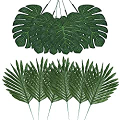 Auihiay 48pcs 4 Kinds Artificial Simulation Palm Leaves with Stems for Hawaiian Luau Party Suppliers Decorations, Tiki, Aloha, Jungle, Beach Theme party Features:  Can be applied to decorate dinning table or stick to the wall as wall decor, a...