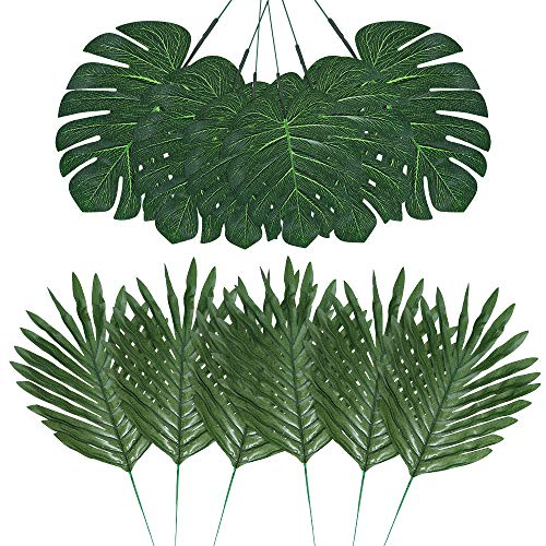 Auihiay 48 Pieces 4 Kinds Artificial Palm Leaves with Faux Stems Tropical Plant Leaves Monstera Leaves Safari Leaves for Hawaiian Luau Party Jungle Beach Table Leave Decorations]()