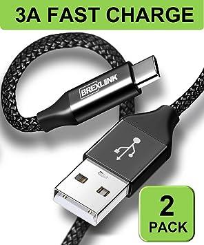 BrexLink Cable USB Tipo C Carga Rapida [2M,2Pack], Tipo C Cargador de Nylon Trenzado para Samsung S8 S9 Plus,Huawei P20 Lite P9,Xiaomi Mi A1/2 Redmi ...