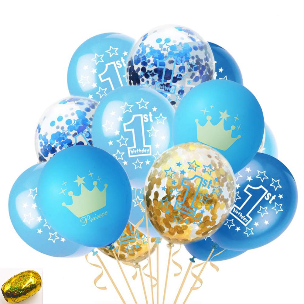 Amazon First Birthday Balloons Blue Light Blue Confetti