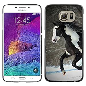 Impact Case Cover with Art Pattern Designs FOR Samsung Galaxy S6 Horse Colorful Indian White Brown Winter Free Betty shop