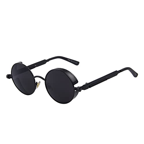 3362a54ceb GAMT Retro Gothic STEAMPUNK Round Sunglasses Metal Frame Mirrored Circle  Lens Black