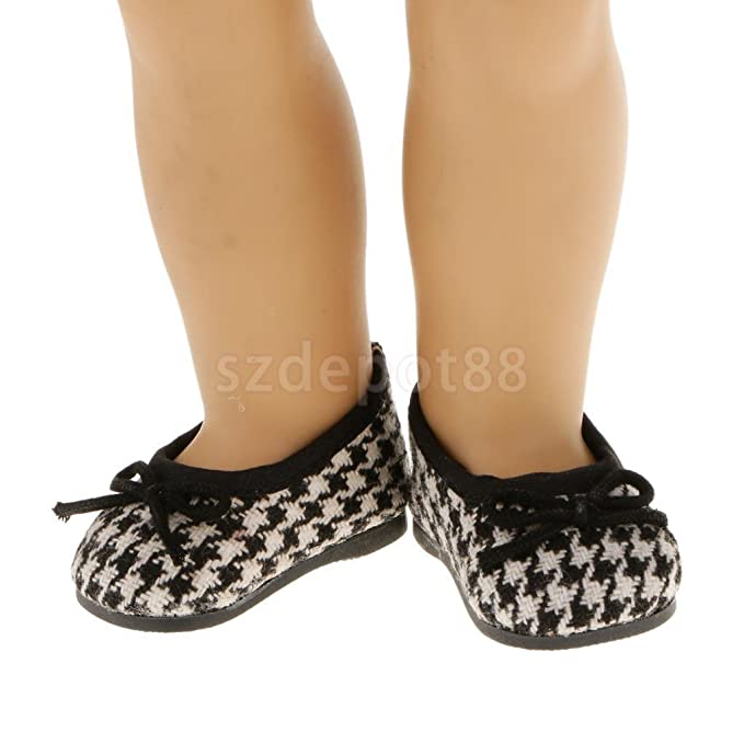 3f8cb8e28d025 Amazon.com: Houndstooth Pattern Flat Bow Shoes FOR 18