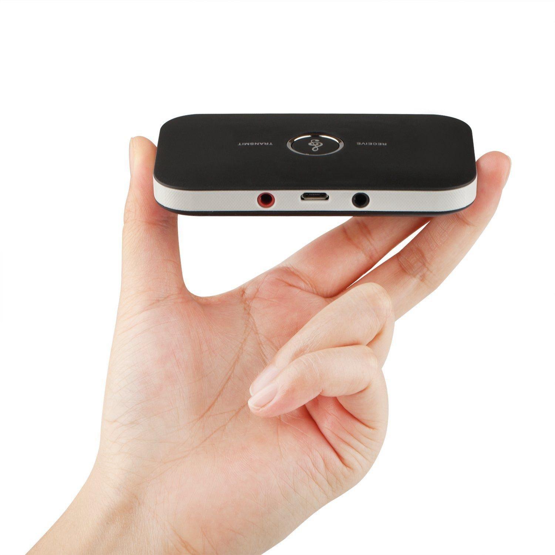 MP3 Transmisor y Receptor Bluetooth 4.1 2-en-1 3.5mm Adaptador de Audio inalambrico Kit de Coche para TV//Sistema Estereo domestico,Auriculares Semoic Adaptador de Audio Bluetooth MP4,iPhone