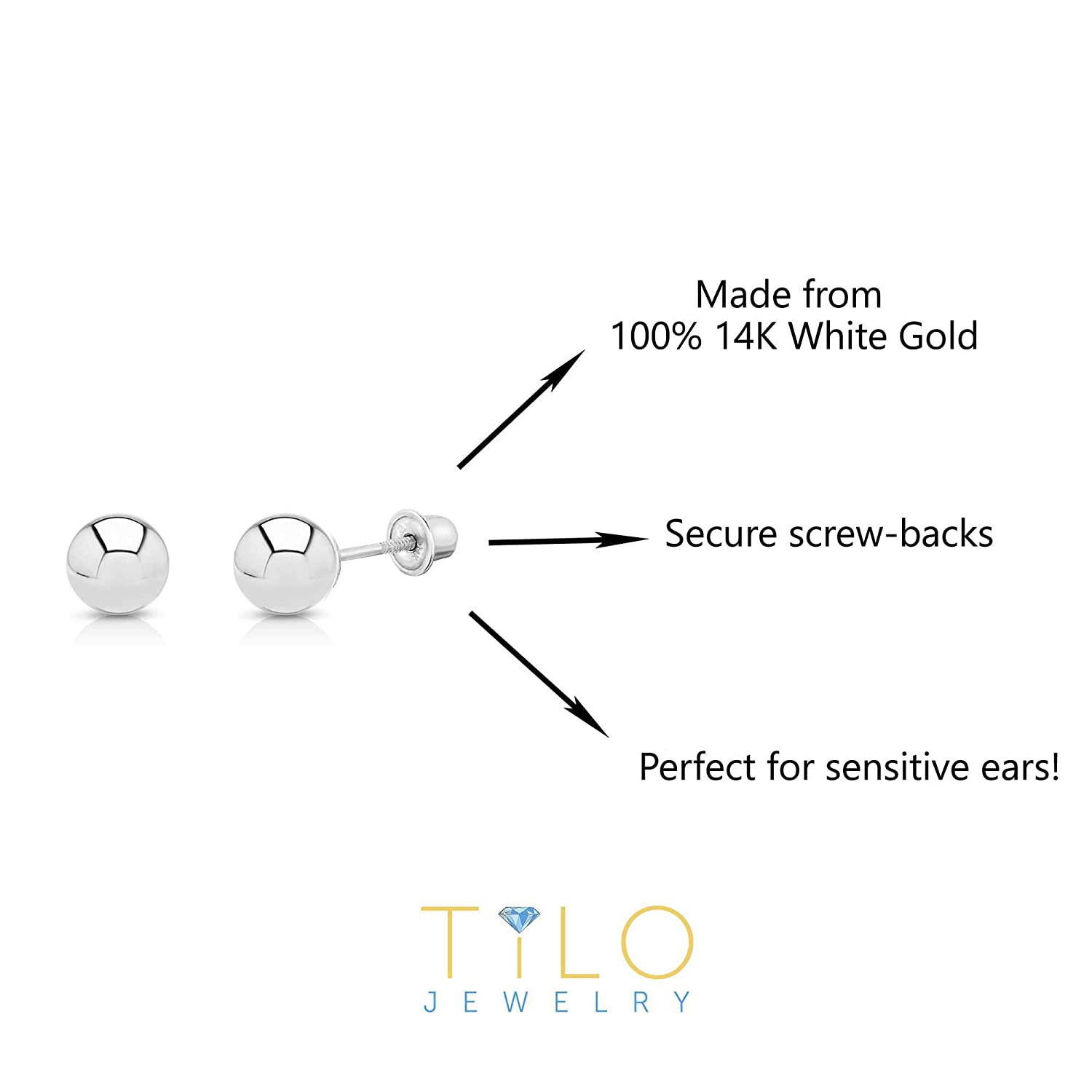91d750fad 3mm NY Gold and Silver Inc WGB3M-SC 14k White Gold Ball Stud Earrings with Secure  Screw-backs