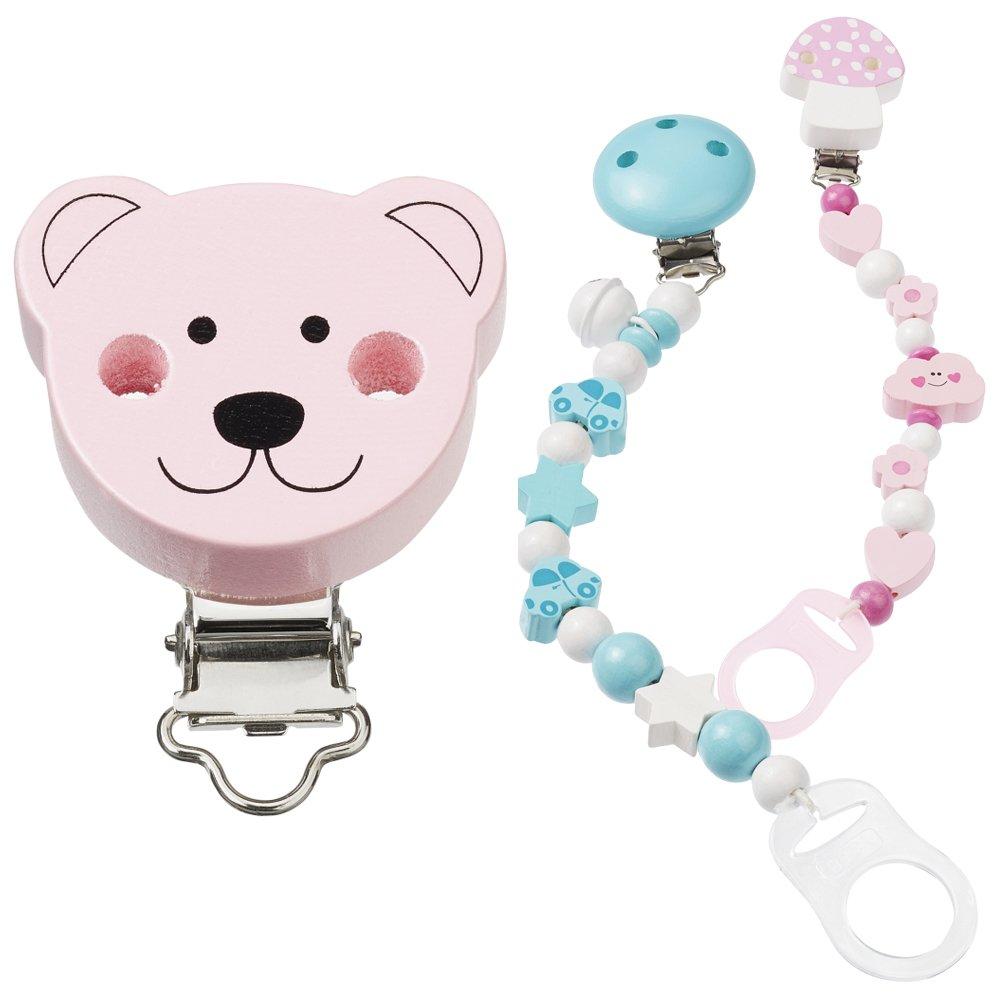 Nuovo Schnulli della catena della clip Orso, rosé, 1PZ. Hobby Fun 3260005