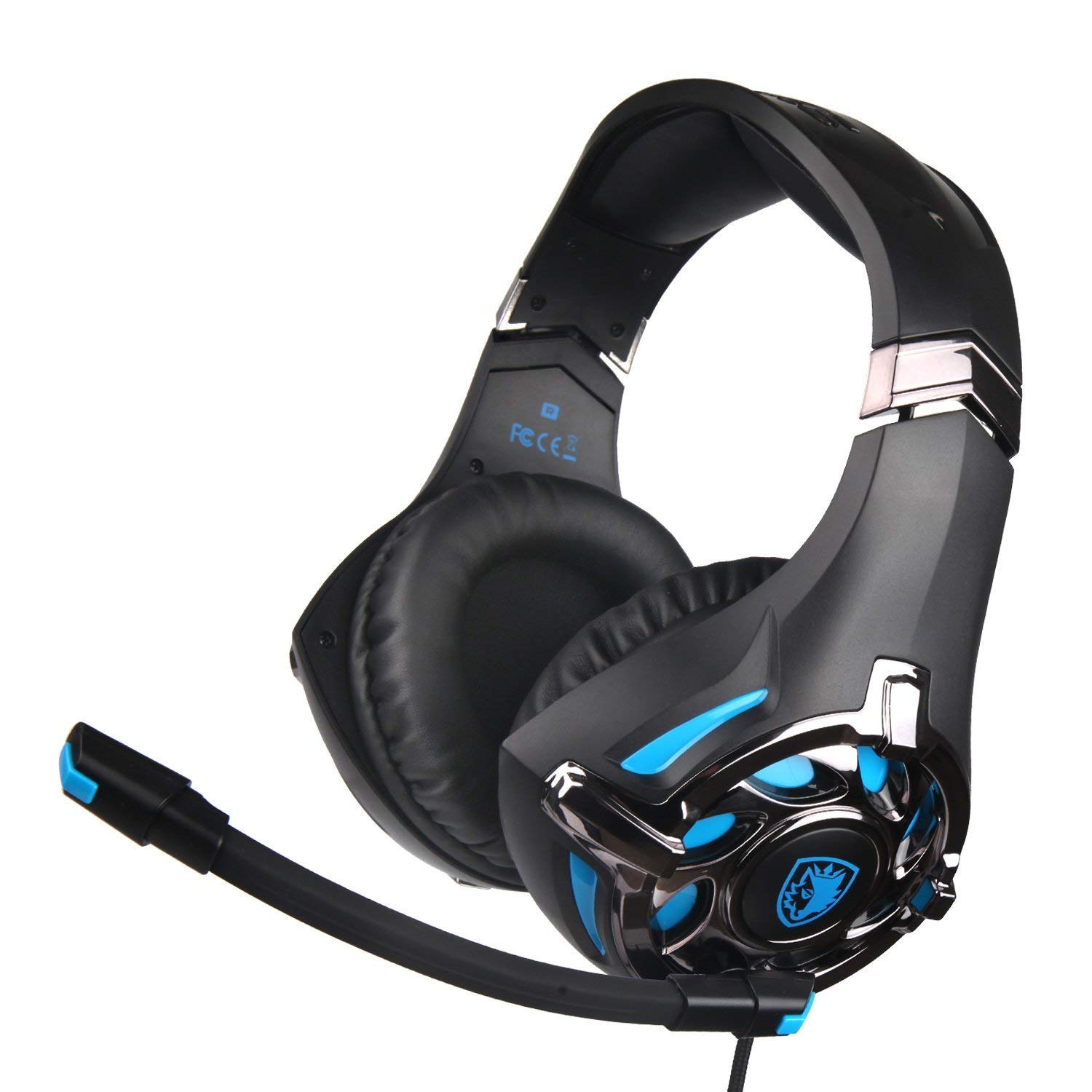 Sades SA822 Gaming Headset for PS4, Xbox One (Adapter Need), PC Over-Ear Gaming Headphone with Crystal Clear Sound, Flexible& Noise-canceling Microphone for Laptop,Mobile,Ipad(Black&Blue)
