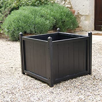 Square Wooden Planter in Painted Black Great Gift