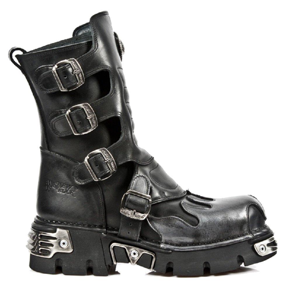 New Rock Black Flammen Calf LŠnge Stiefel mit Flammen Black und Reactor Soles in drei verschiedenen Farben Schwarz/ Lila b18530