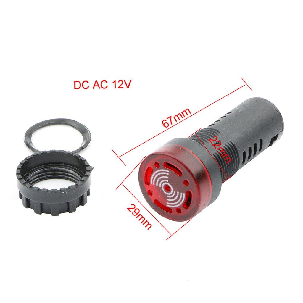 22mm DC 12V Red LED Flashing Buzzer Pilot Panel Indicator Light