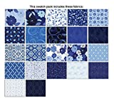 Blue Brilliance~ Charm Pack 42, 5'' Cotton Squares -by Benartex