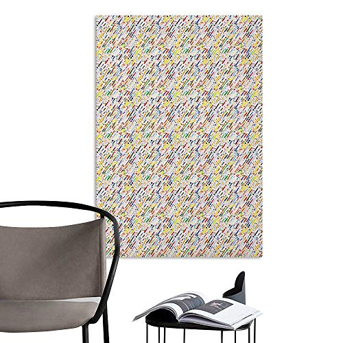 - Brandosn Waterproof Art Wall Paper Poster Abstract Colorful Diagonal Stripes Traditional Polka Dots Surreal Illustration Grunge Theme Multicolor Home Decor W20 x H28