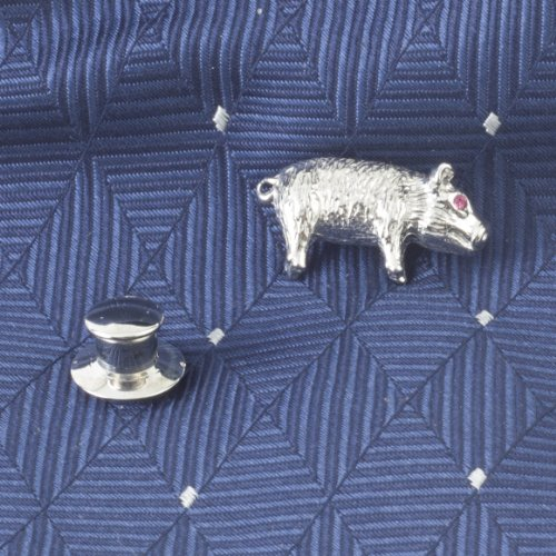 Tateossian Men's Rhodium Plated Red Swarovski Pig Tie Pin by Tateossian (Image #1)