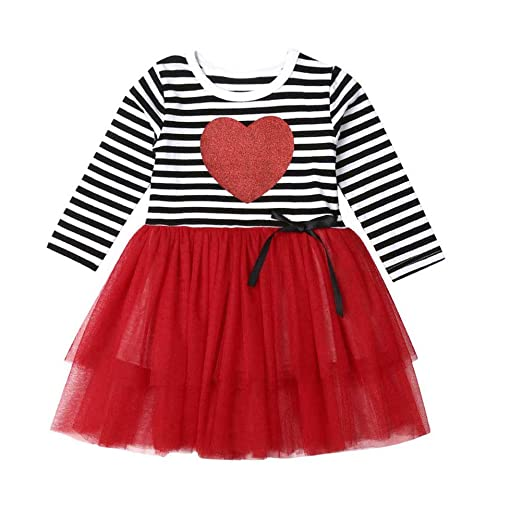 b20fbb1ba Valentine's Day Toddler Baby Girl Clothes Love Heart Dress Stripe Long  Sleeve Tutu Skirt Outfits (