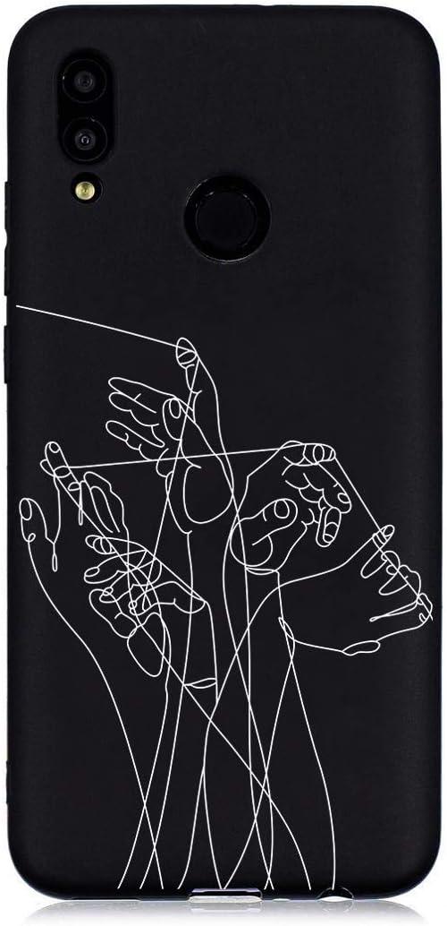 Honor 10 Lite Silicone Souple Aigle DiaryTown Para Coque Huawei P Smart 2019 Noir Etui Housse Antichoc TPU Mince Motif Joli Couleur Pure Fine Case pour Fils Filles Femmes