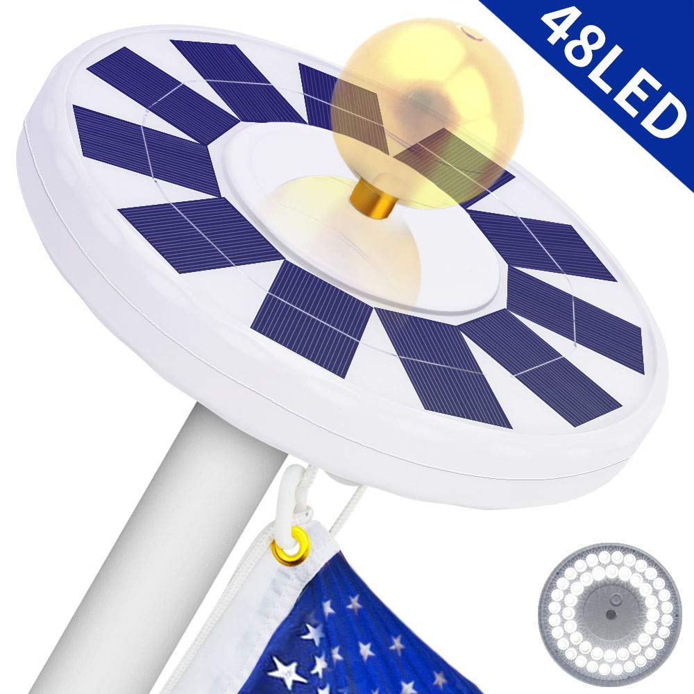 48 LED Solar Flagpole Light, LBell 800 Lux Downlight Lighting for 15 to 25 Ft Flag Pole Topper. Three Models Brightness to Switch- Most Powerful, Brightest, Longest Lasting Night Light by LBell