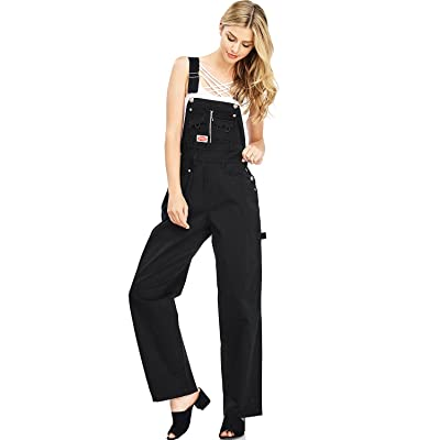 Revolt Women's Juniors Baggy Straight Leg Twill Overalls: Clothing