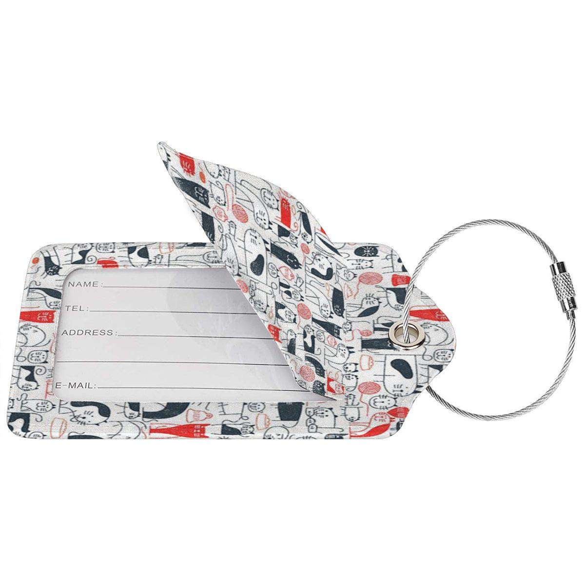 Best Cat Dad Ever Luggage Tags With Full Back Privacy Cover W//Steel Loops
