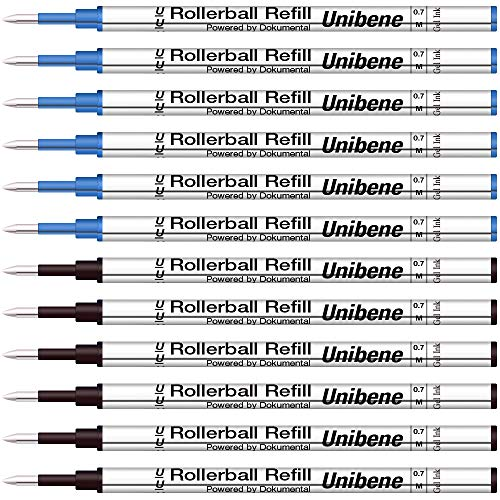 Unibene Gel Ink Rollerball Refills 12 Pack, 0.7mm Medium Point - 6 Blue&6 Black, Standard Rolling Ball Refills Fit Most Ordinary Rollerball Pen, Waterman Pilot Pentel Compatible - Pen Roller Ball Black Carene