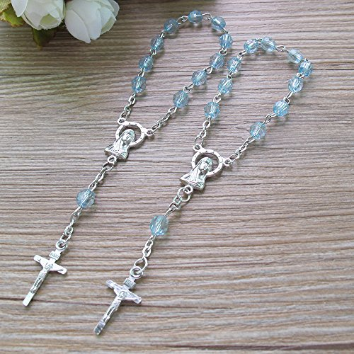 25 Pcs Baptism Favors Mini Rosaries for boy - Blue Beads with Silver Plated Accents - Recuerditos De Bautismo - Finger Rosaries - First Holy Communion - Wedding