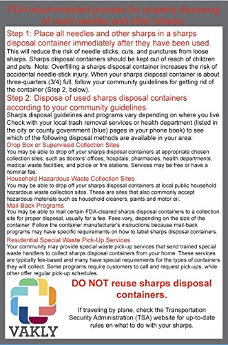 Sharps Container 2 Quart - Plus Vakly Biohazard Disposal Guide (5 Pack) by Vakly (Image #2)