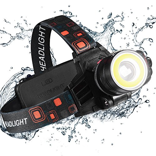 Cobiz Led Headlamps Flashlight-2 Function Merge(COB Flood&Spot Light) xtreme Bright 9oz Waterproof Zoomable 18650 Rechargeable Work Headlight for Construction Dental Electrician DIY