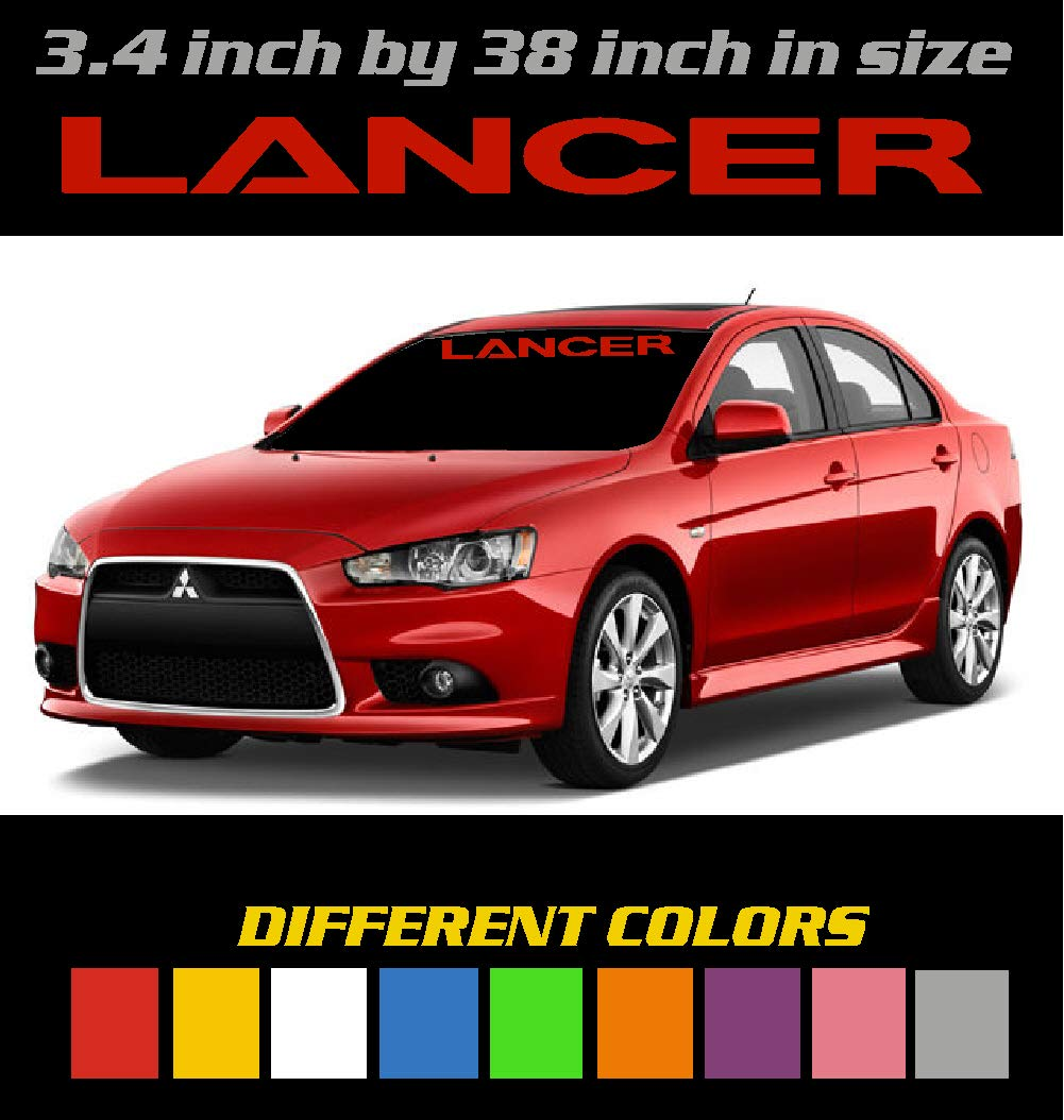 Graphic 3.4 inch by 38 inch Sticker 6 to 8 Year Outdoor Life Window Decal. Different Colors Mitsubishi Lancer Windshield Banner Decal Emblem