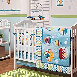 Bubble Buddies Sealife 5 Piece Baby Crib Bedding Set for boys by Belle