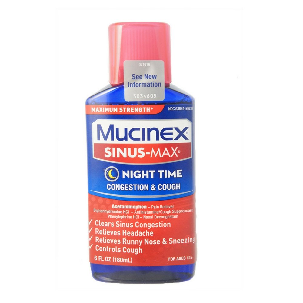 Mucinex Sinus-Max Adult Liquid Nighttime Relief, 6 Ounce (Pack of 9) by Mucinex