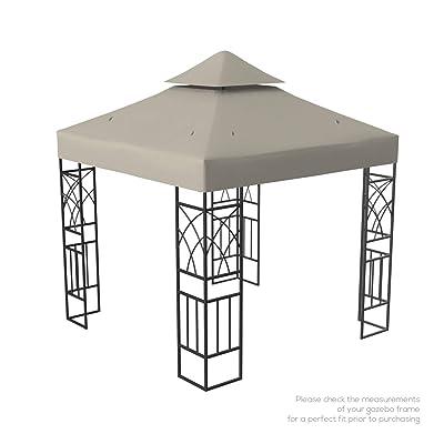 Kenley Gazebo Canopy Replacement Top 10x10 - Double Tier Patio Canopy Cover - Waterproof 250g Canvas Gazebo - Beige: Garden & Outdoor