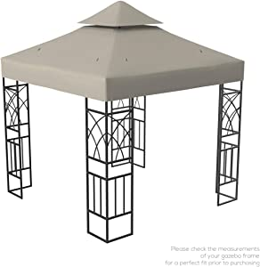 Kenley Gazebo Canopy Replacement Top 10x10 - Double Tier Patio Canopy Cover - Waterproof 250g Canvas Gazebo - Beige