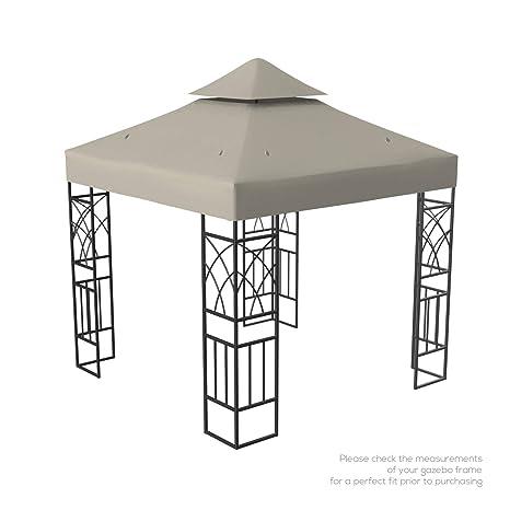 Kenley Toile de Toit Rechange Imperméable pour Pavillon Tonnelle Tente -  3x3m - Beige