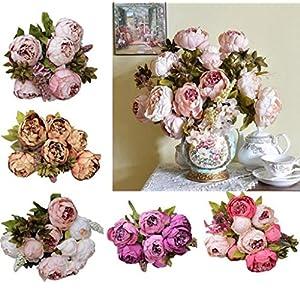 AMA(TM) 1Bouquet 8 Heads Artificial Peony Silk Flower Leaf Real Touch Bridal Wedding Bouquet Home Decor 31