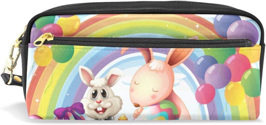Estuche para lápices con diseño de conejos, huevos de Pascua, globos flotantes, diseño de arcoíris: Amazon.es: Oficina y papelería